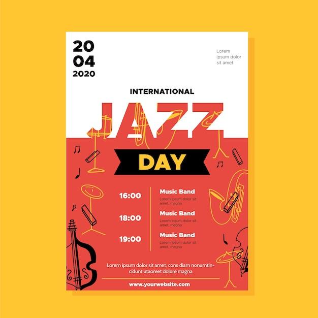 Modello di volantino internazionale giornata jazz in design piatto Vettore gratuito