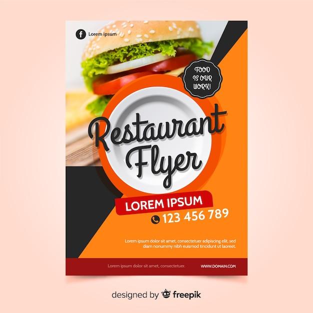 Modello di volantino moderno ristorante fast food Vettore gratuito