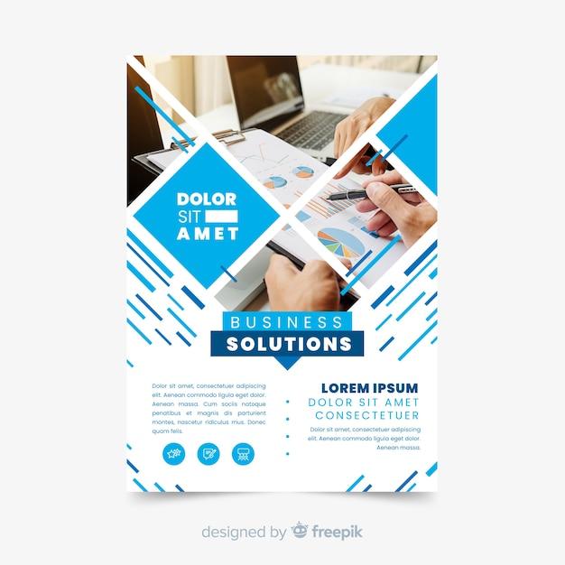 Modello di volantino mosaico soluzioni aziendali Vettore gratuito
