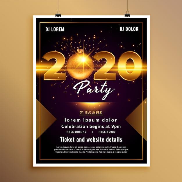 Modello di volantino o poster del nuovo anno 2020 Vettore gratuito