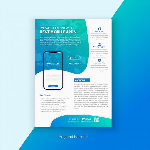 Modello di volantino per app mobile Vettore Premium