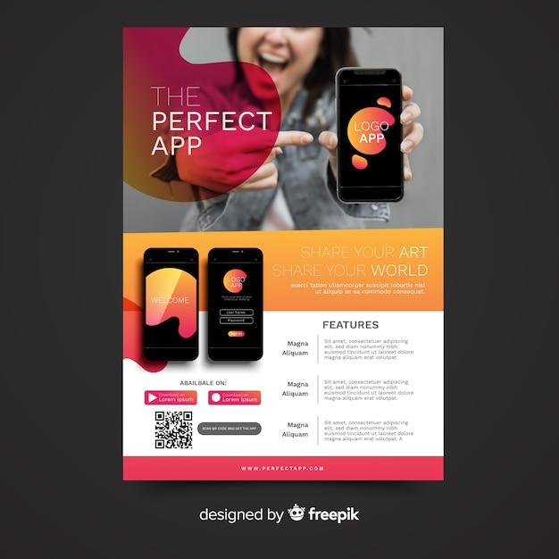 Modello di volantino per app per dispositivi mobili Vettore gratuito