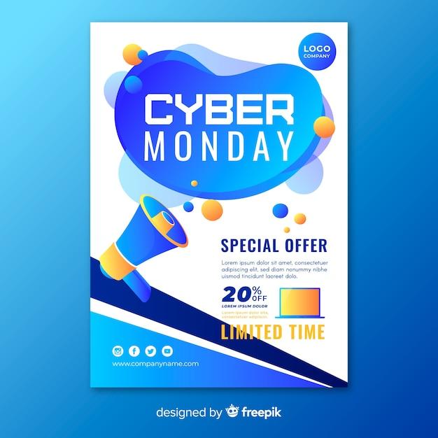 Modello di volantino piatto cyber lunedì Vettore gratuito