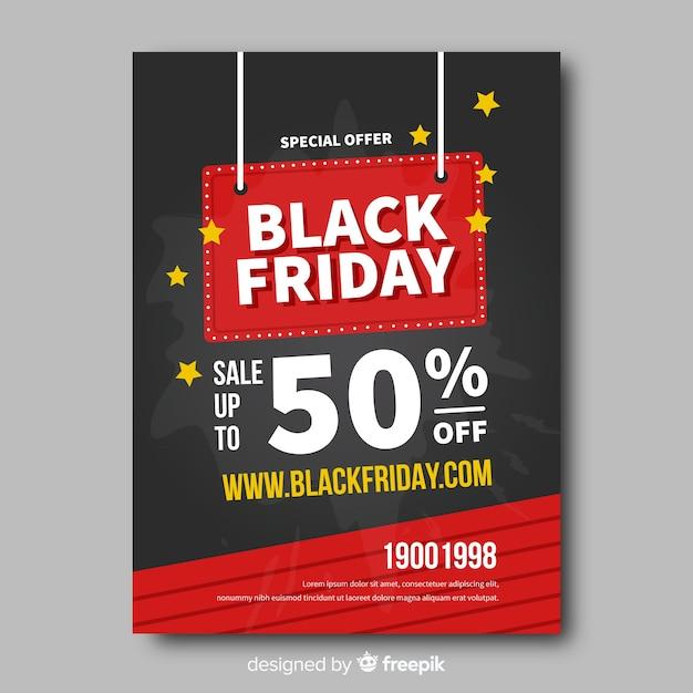Modello di volantino piatto nero venerdì Vettore gratuito