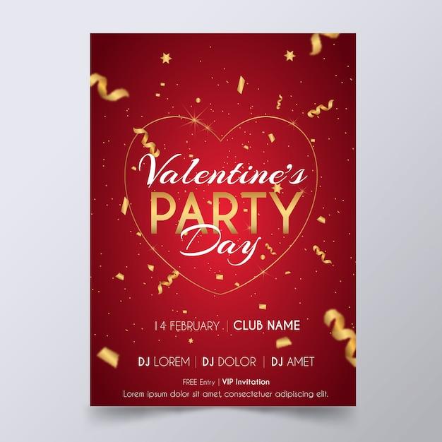 Modello di volantino / poster festa di san valentino Vettore gratuito