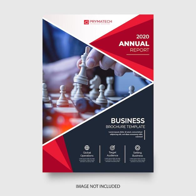 Modello di volantino professionale di affari con forme rosse Vettore gratuito