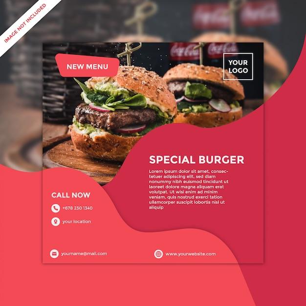 Modello di volantino quadrato per hamburger ristorante Vettore Premium