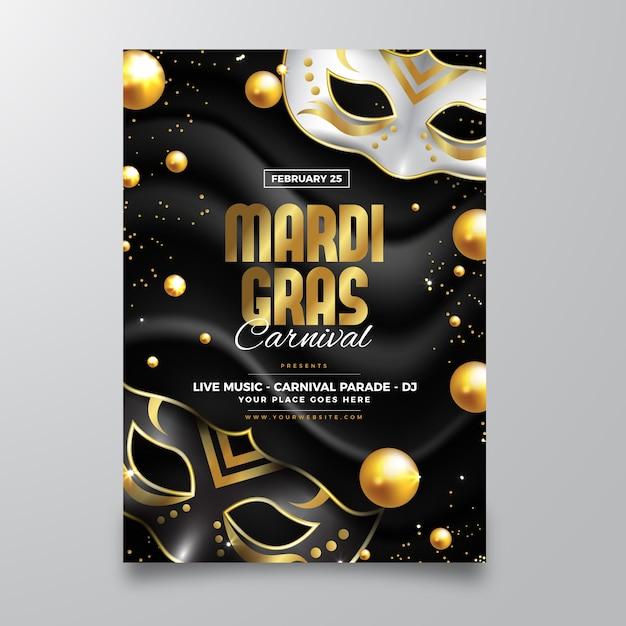 Modello di volantino realistico mardi gras Vettore gratuito