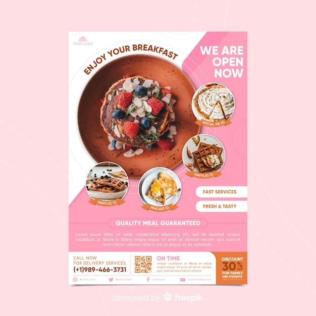 Modello di volantino ristorante con foto Vettore gratuito