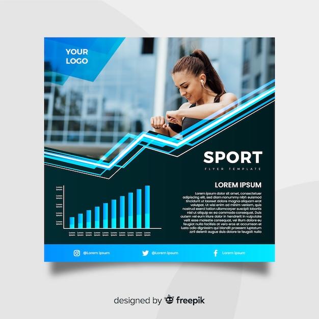 Modello di volantino sport con foto Vettore gratuito
