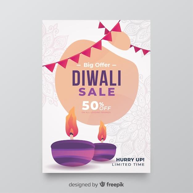 Modello di volantino vendita design piatto diwali Vettore gratuito