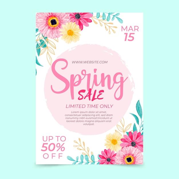 Modello di volantino vendita primavera dell'acquerello Vettore gratuito