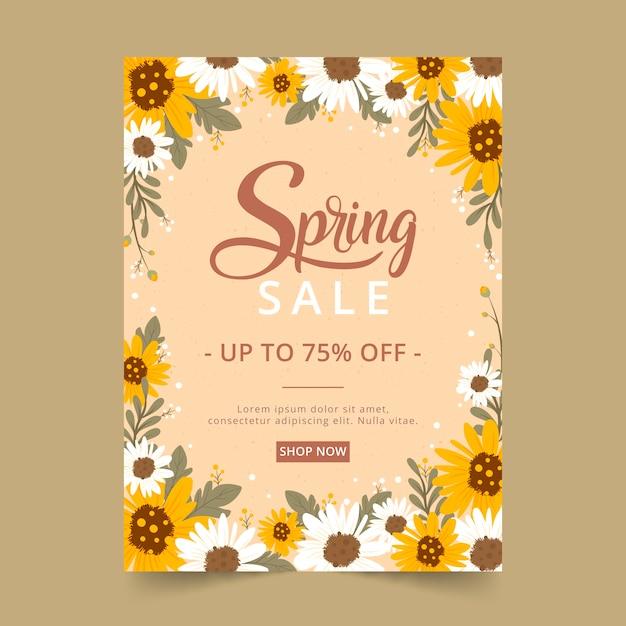 Modello di volantino vendita primavera disegnata a mano Vettore gratuito