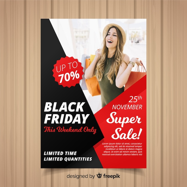 Modello di volantino venerdì nero Vettore gratuito