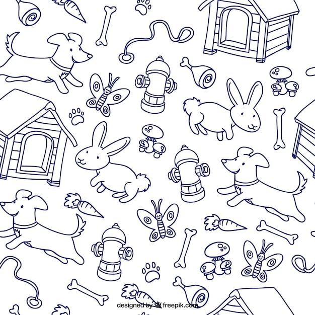 Modello disegnati a mano animali Vettore gratuito