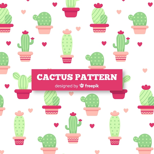 Modello disegnato a mano cactus e cuori Vettore gratuito