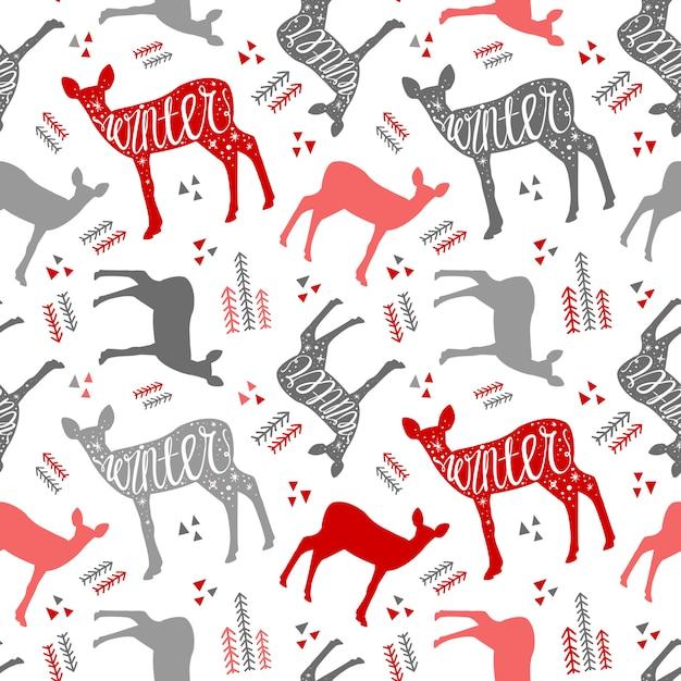 Modello disegnato a mano con cervi inverno. cervi di natale bel design per il po Vettore Premium