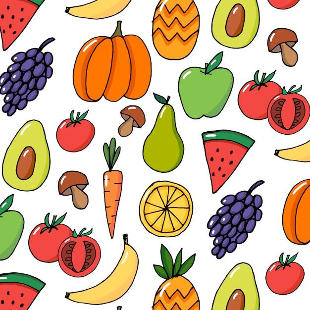 Modello disegnato a mano di vettore di frutti delle verdure variopinto Vettore Premium