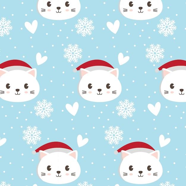 Modello disegnato gatto carino con neve e cuore Vettore Premium