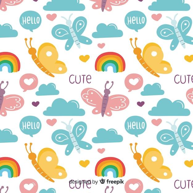 Modello divertente di farfalle e parole di doodle Vettore gratuito