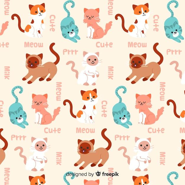 Modello divertente di gatti e parole di doodle Vettore gratuito