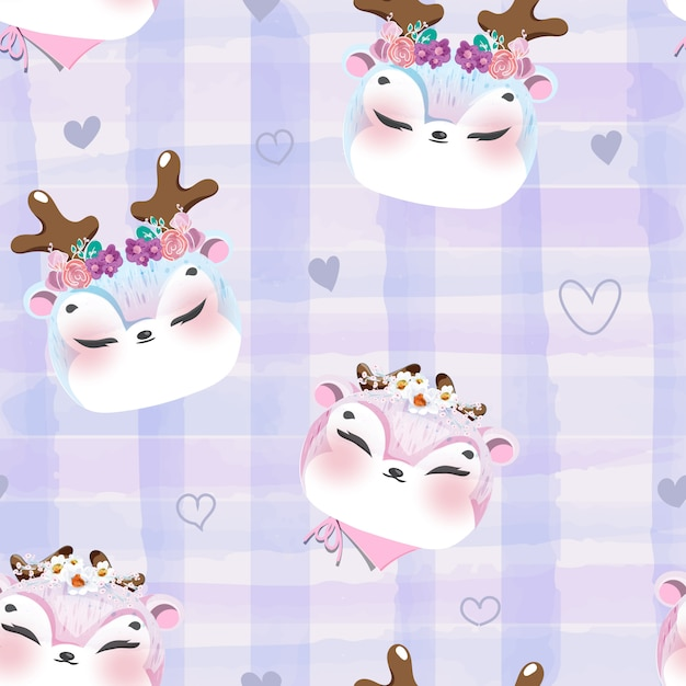 Modello doodle baby cervo in acquerello. Vettore Premium