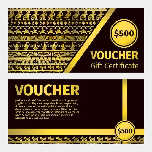 Modello dorato del certificato del buono Vettore Premium