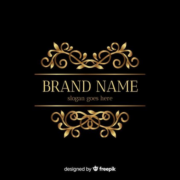 Modello dorato elegante logo con ornamenti Vettore gratuito