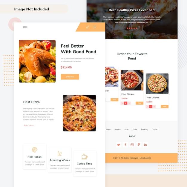 Modello e-mail di ordinazione alimentare online Vettore Premium