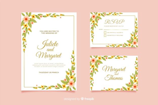 Modello e rsvp della carta dell'invito di nozze Vettore gratuito