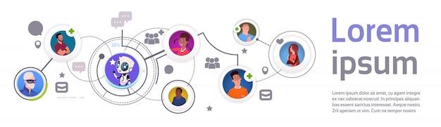 Modello ed elementi di infographic di comunicazione del bot di chiacchierata con l'insegna di orizzontale di tecnologia di sostegno mobile del robot Vettore Premium