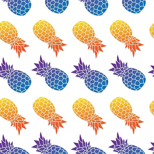 Modello ed estate senza cuciture dell'ananas Vettore Premium