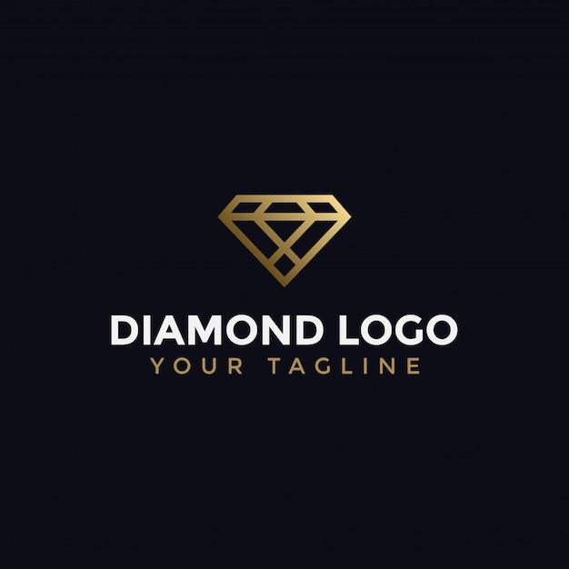 Modello elegante astratto di diamond jewelry line logo design Vettore Premium