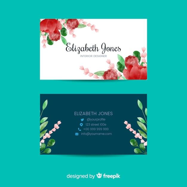 Modello elegante biglietto da visita floreale Vettore gratuito
