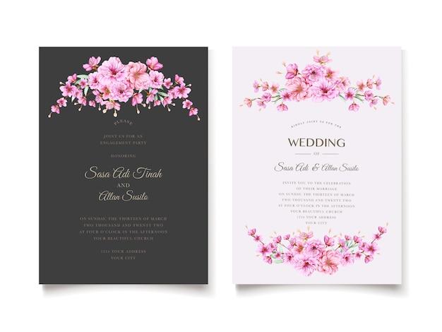 Modello elegante dell'invito di nozze del fiore di ciliegia Vettore gratuito