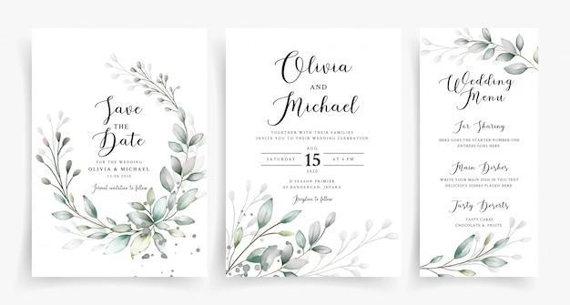 Modello elegante della carta dell'invito di nozze della pianta dell'acquerello Vettore Premium