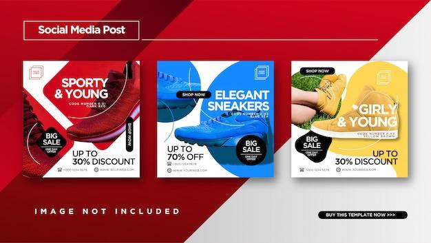 Modello elegante post social media. Vettore Premium
