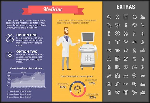 Modello, elementi ed icone infographic della medicina Vettore Premium