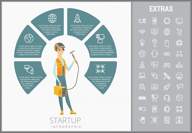 Modello, elementi ed icone infographic di avvio Vettore Premium