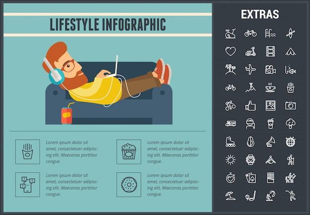 Modello, elementi ed icone infographic di stile di vita Vettore Premium