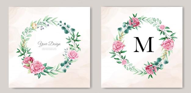 Modello floreale dell'invito di nozze dell'acquerello Vettore gratuito