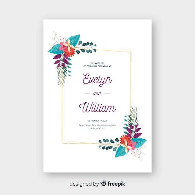 Modello floreale dell'invito di nozze della struttura Vettore gratuito