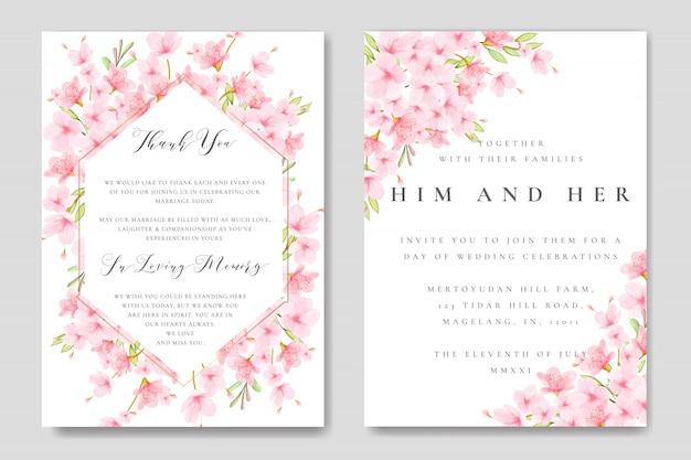 Modello floreale di nozze cherry blossom frame Vettore Premium