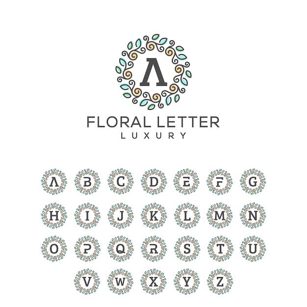 Modello floreale di vettore dell'illustrazione di concetto del pacchetto della lettera Vettore Premium