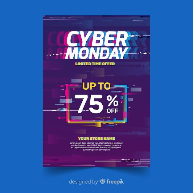 Modello flyer glitch cyber lunedì Vettore gratuito