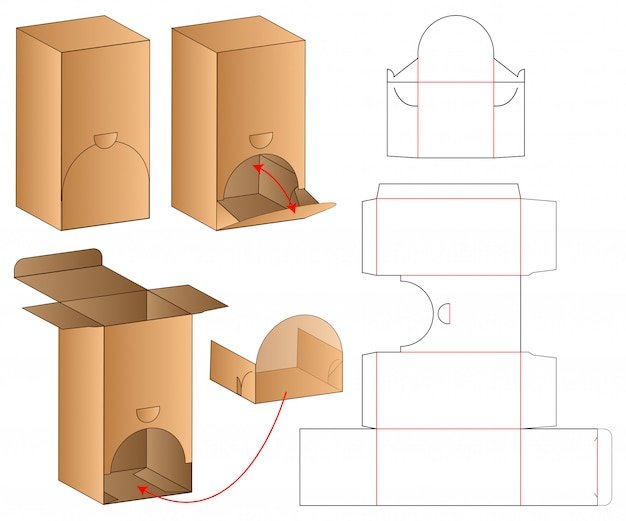 Modello fustellato confezione imballo Vettore Premium