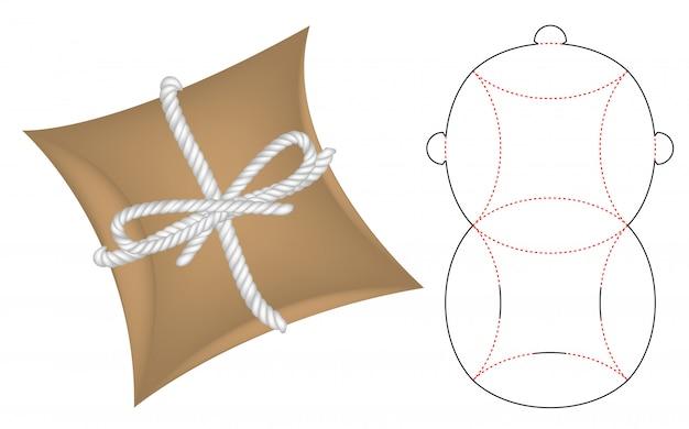 Modello fustellato per scatola di cuscini Vettore Premium