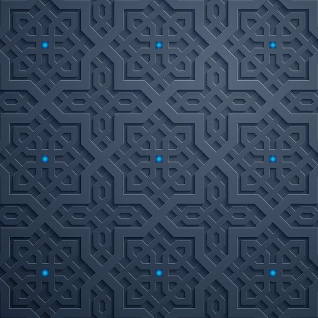 Modello geometrico arabo del marocco dell'ornamento traditonal Vettore Premium
