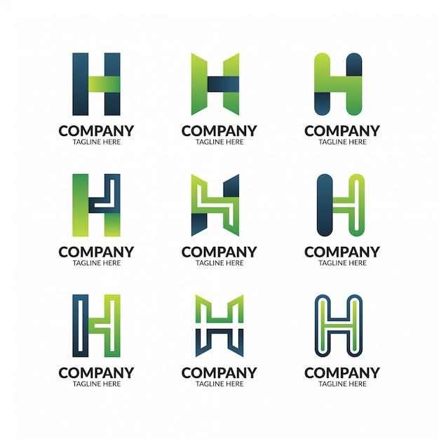 Modello geometrico astratto lettera h logo Vettore Premium