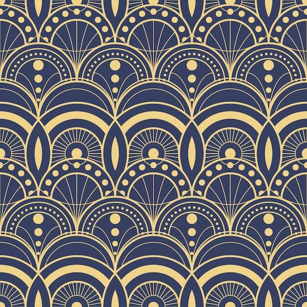Modello geometrico moderno blu delle mattonelle di art deco astratto Vettore Premium